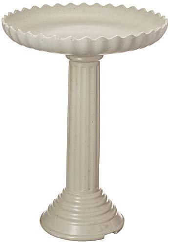 Farm Innovators Model HBC-120C All Seasons Decorative Gray Stone Scalloped Heated Birdbath with Pedestal, 120-Watt