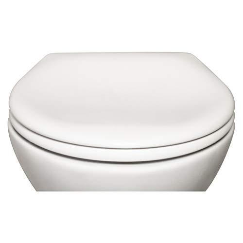 Bullseat 8.1 Premium Toilettendeckel oval weiß. Klodeckel mit Softclose Absenkautomatik und abnehmbar. Antibakterielle Klobrille aus Duroplast und rostfreiem Edelstahl abnehmbar.(Klassisch)
