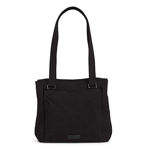 Vera Bradley Women's Microfiber Multi-Compartment Shoulder Satchel Purse Handbag, Classic Black, One Size
