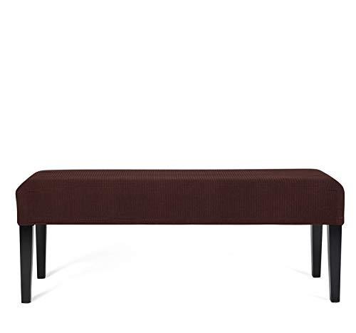 GETMOREBEAUTY rechteckige Lunchcover aus elastischem Stoff für Bank, für Küchenbank und Klavierbank (Kaffee, groß)