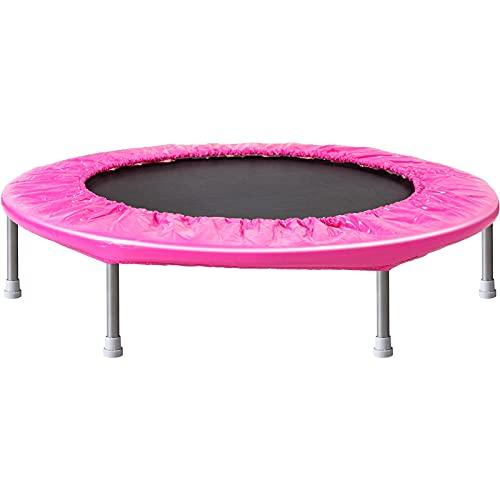 Goodvk Trampolín Trampolín para niños Plegable Interior Exterior para Exteriores Cama de Salto para niños para niños Equipo de Ejercicio Deportivo Fácil de Almacenar (Color : Pink, Size : 96x45x19cm)