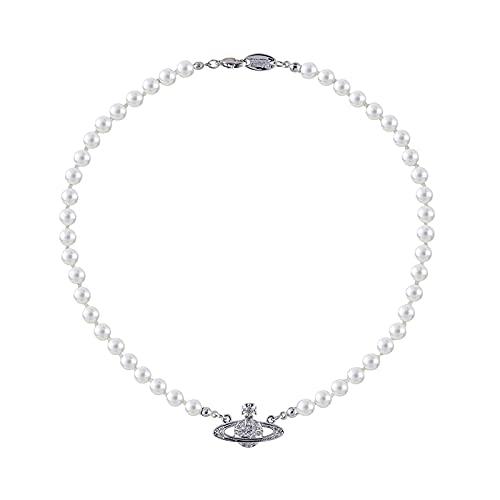 Collares de Perlas de Saturno para Mujer, Planeta Cristal Collar de Diamantes de Imitación Colgante de Damas Regalo de Joyería para el Aniversario Cumpleaños Día de la Madre (Plata)