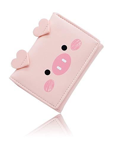 Conisy Carteras Pequeñas Mujer de PU Cuero Lindo Minimalista Billetera Delgada para niñas y Señora (Rosa)