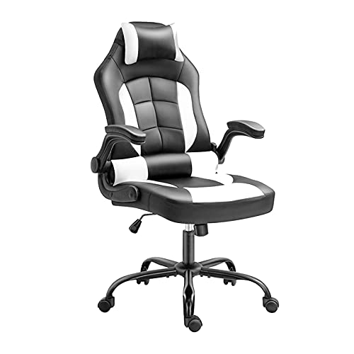 Silla ergonómica para juegos, silla de oficina para el hogar, sillas de escritorio con asiento acolchado de piel sintética de altura ajustable, color blanco