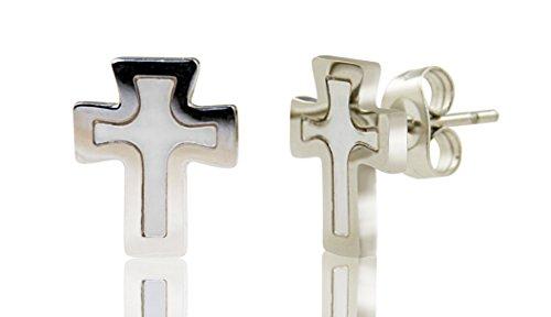 PAPOLY, pendientes co diseño de Libélula y Cruz stainless steel quirúrgico Antialérgico, cristal SWAROVSKI®, MADRE PERLA hipoalergénico 0.47in/12mm (CRUZ)