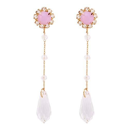 YAZILIND aleación larga borla colgante colgante pendientes simple estilo imitación pedrería perla pendiente mujeres joyería (rosa)