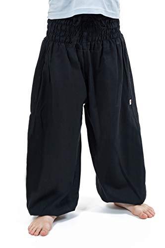 FANTAZIA Pantalon Sarouel Enfant Noir Kidika - Taille S au XXXL - 100% Coton - Noir - Zen Naturel - Confortable & Original - Créé en France, Fabrication Ethique Depuis 2004 - Harem Pants