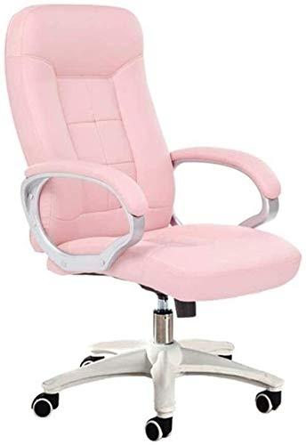 G.S.N. GSN Executive Recline Computer Stuhl, PU weicher Stuhl leicht zu reinigen Studentische Mitarbeiter Stuhl Gemütlich Wear Resistant älterer Bürostuhl Gepolsterte Bürostuhl Sessel (Color : Pink1)