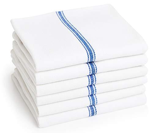 Premia Kitchen Dish (12 Units) Kitchen Absorbent 100% Cotton Herringbone (14x25) -Commercial Quality: 24 oz/dz-Premia Classic Tea Towels w/Blue Stripes-Low Lint