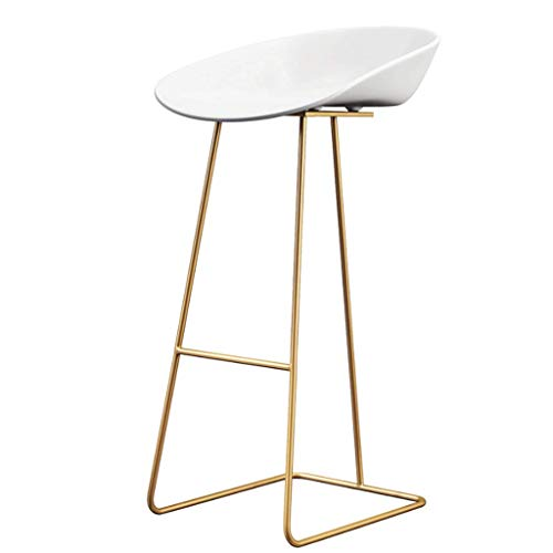 Hongyan Sgabello da Bar, Retro Design Metal Round Counter High Stool Low Back - 3 Size Options +A (Colore : Oro, Dimensioni : 65cm)