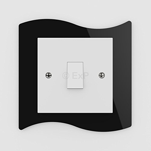 Expression Products Single Light Switch or Plug Socket Back Plate Finger Surround Panel Black Free Trolley Token Material Sample Included per Shipment
