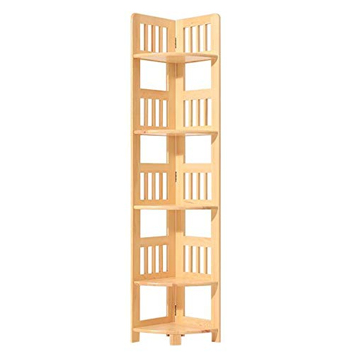 JCNFA planken Boekenplanken Boekenkasten Home Office Deco Vintage Opslag Ladder Multifunctionele Hoek Plank Rek Rek Eenheid 11.22 * 11.22 * 59.84in Log Varnish