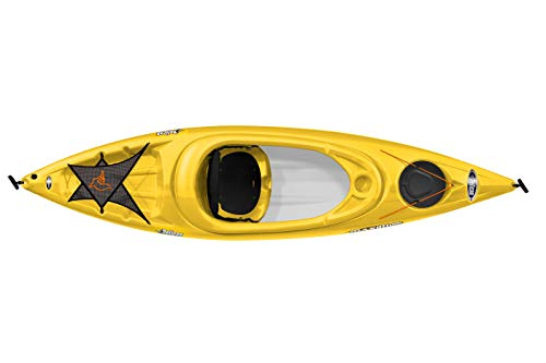 Pelican Maxim 100X Sit-in Recreational Kayak Kayak 10-Foot Lightweight one Person Kayak Perfect for Recreation, Yellow… 2 Lightweight and easy to carry with Front and Rear T-Handles for Easy Transport this Sit-In kayak has a maximum capacity of 275 lb. / 125 KG Includes a Storage hatch with bungee cord and a Storage Platform with a Mesh Deck Cover to store all your gear for your trip on the water The Shallow V Chine hull Design provides good stability and maneuverability while providing very good performance.Do not use chemical products or abrasives