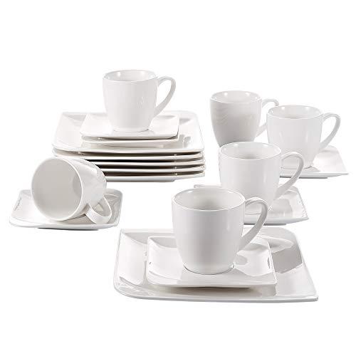Vancasso Service de table 36 pièces en porcelaine avec tasses, sous-tasses, bols, assiettes à soupe, assiettes à dessert, assiettes plates - Noir et blanc