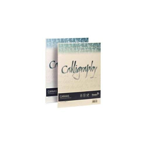 Favini A69Q214, Calligraphy Canvas Ruvido  A4 - 100g, confezione da 50, colore: Avorio