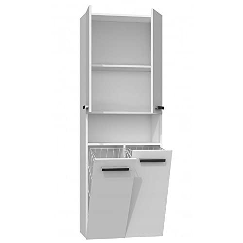 ADGO Nel - Armario de baño con 2 cestas para la ropa sucia, armario alto, cesta para la colada, armario de almacenamiento independiente (DK 2K, alfombrilla blanca)