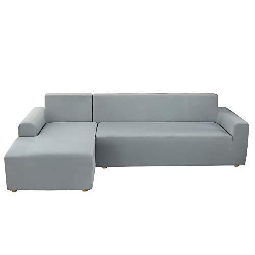 Copridivano con Penisola Elasticizzato Chaise Longue Sofa Cover Componibile in Poliestere a Forma di L 2 Pezzi, Fodere per Divano Angolare(3 posti+ 3 posti,Grigio Fumo)