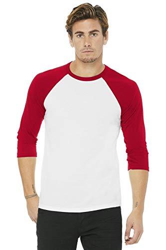 Bella+Canvas: Triblend 3/4 Sleeve Baseball T-Shirt 3200, Größe:L;Farbe:White/Red