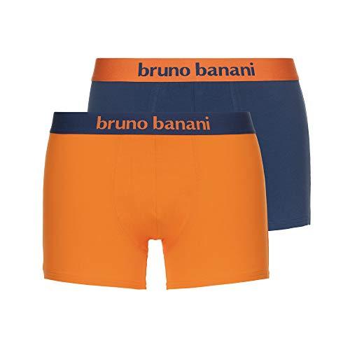 bruno banani Herren Short 2er Pack Flowing Boxershorts, Mehrfarbig (Denim/Orange 4004), X-Large