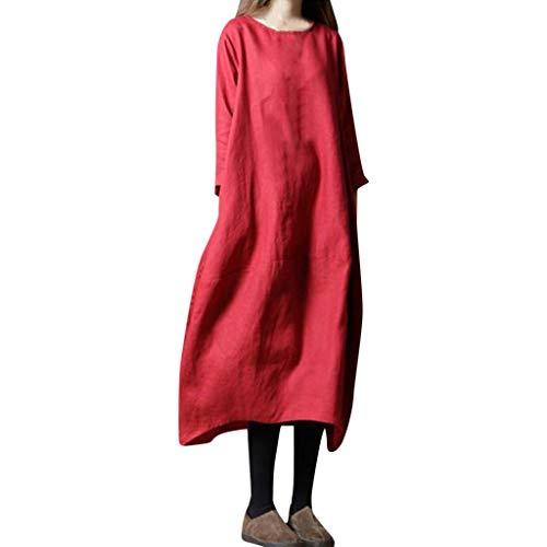Xmiral Kleid Damen Einfarbig Lose Langarm Rundhals Nationaler Stil Gewand Knöchellang A-Linie Party Leinen Kleider(Rot,XXL)