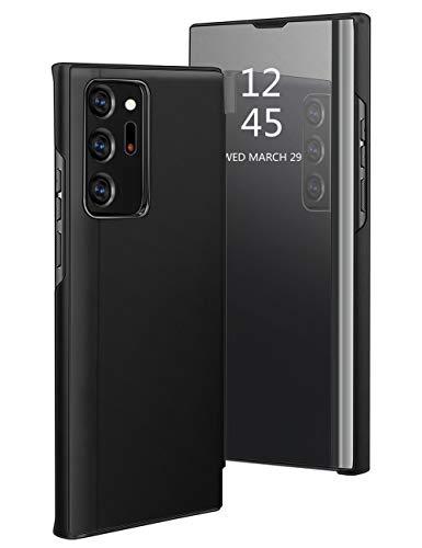 Croazhi Handyhülle Kompatibel für Samsung Galaxy Note 20 Ultra 5G Hülle Leder Flip Tasche Hülle Cover Spiegel Clear View Standing PC+Silikon+PU 360 Stoßfest Klapphülle für Galaxy Note20 Ultra 5G