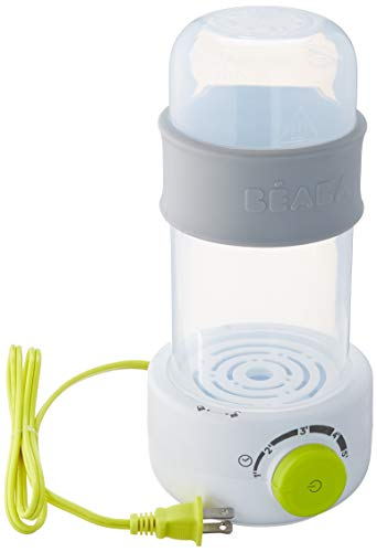 BEABA Quick Baby Bottle Warmer, Steam Sterilizer, Baby Food Heater (3-in-1) Warm Milk in Just Two Minutes, BPA and Lead Free, Simple Temperature Control, Fits All Bottle Sizes - Even Wide Neck (Neon)