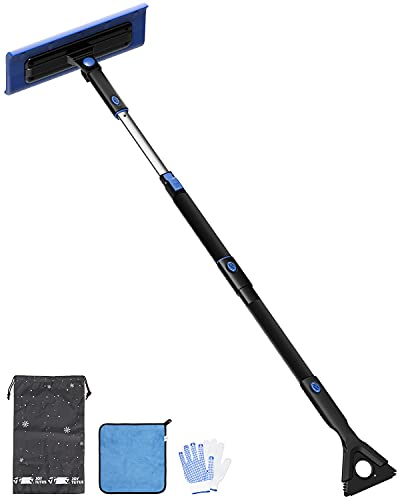 JOYTUTUS 47   S-Type Snow Broom, Extendable Snow Brush with Foam Handle, 270° Rotatable Snow Cleaner for Car with Ice Scraper and Wiper Cleaner (Black)