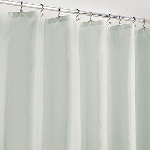 mDesign Duschvorhang Anti-Schimmel – wasserabweisender Vorhang für Dusche & Badewanne – moderner Badewannenvorhang mit zwölf verstärkten Löchern & Gewichten im Saum – aquafarben