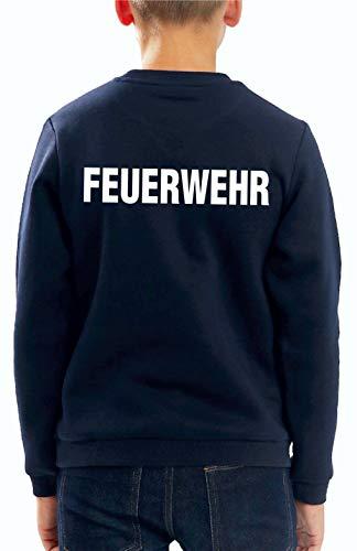 Feuer1 Sweat-shirt pour enfant Bleu marine/motif pompiers (recto-verso) Blanc 8-9 ans bleu marine