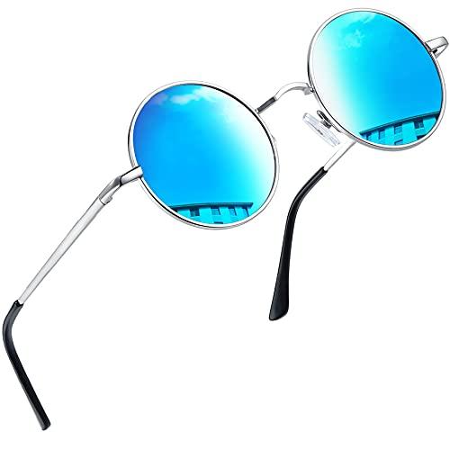 Joopin Occhiali da Sole Specchio Polarizzati Vintage Stile Lennon Rotondi Tondi Piccoli per Uomo e Donna Protezione UV400 (Lenti Polarizzate Blu)