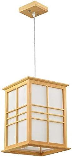 Chuen Lung Lustres en bois de style japonais chambre salon lustre en bois moderne E27 (taille   40  24  24CM)