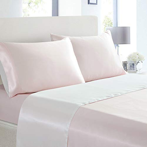 Cobedzy 4 Pcs Satin Sheets King Size Double Color Soft Silk Satin Bedding Sheets Set with 1 Deep Pocket Satin Fitted Sheet, 1 Flat Sheet, 2 Pillowcases(Blush Pink + White)
