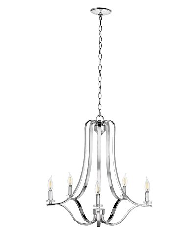 Catalina Lighting 20858-000 Arya Chrome Metal and Crystal 5-Light Chandelier
