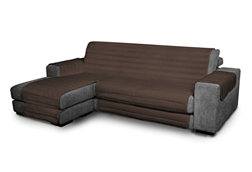 Italian Bed Linen Elegant - Funda Protectora para Sofá Chaise Longue Izquierdo, Microfibra, Marròn, Medida del asiento 290 cm + cubre brazos laterales