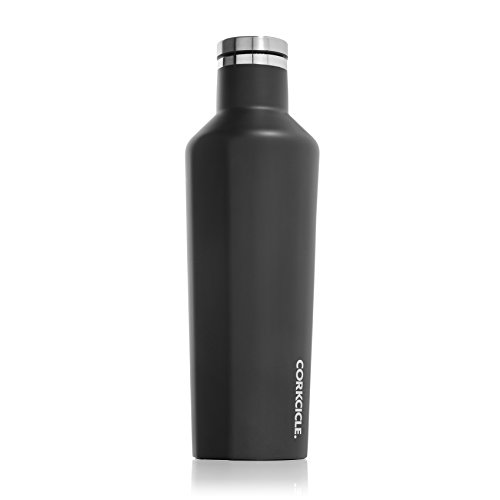 Corkcicle Canteen - Water Bottle & Thermos - Triple Insulated Stainless Steel, 16 oz, Matte Black