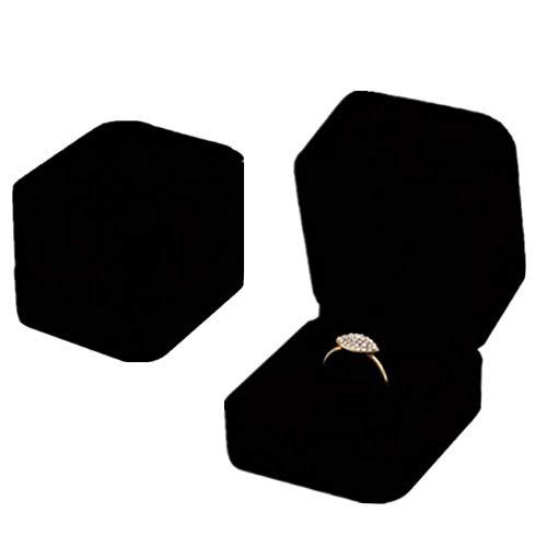 2 Stück Schmuckbox Organizer Ring Geschenk-Boxen, Samt Ringbox Einzeln mit Deckel Karton Schmuckboxen Schwarz Ringboxen für Ringe Schmuck Bulk Verlobung Hochzeit Geburtstag Geschenke