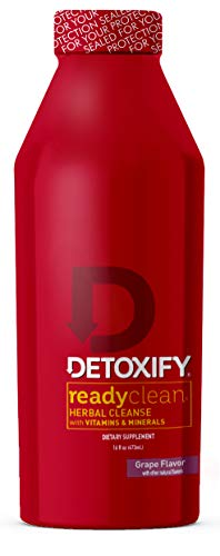 Detoxify Ready Clean Herbal Cleanse – Grape Flavor– 16 oz | Professionally Formulated Herbal Detox Drink | Enhanced with Milk Thistle Seed Extract & Burdock Root Extract