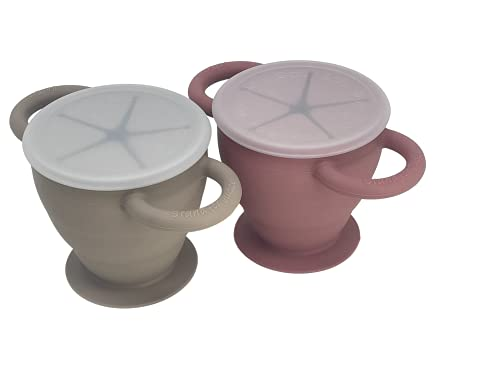 BraveJusticeKidsCo. | Snack Attack II Baby Snack Cup | 2 pack | Collapsible Toddler Snack Cup (Fog and Dusty Rose)
