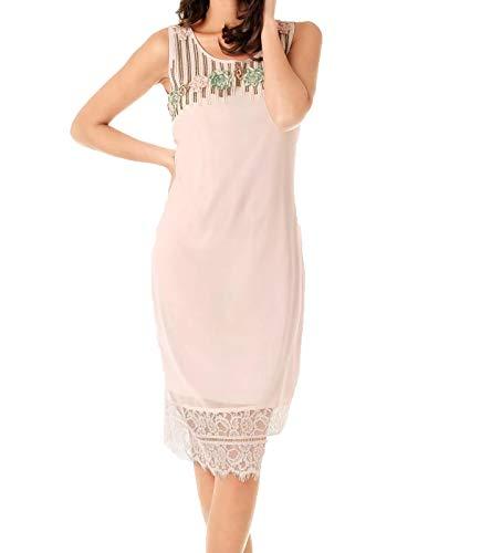 Ashley Brooke Kleid Cocktail-Kleid Elegantes Damen Ausgeh-Kleid Midi-Kleid Jersey-Kleid mit Stickerei Rosa, Größe:42
