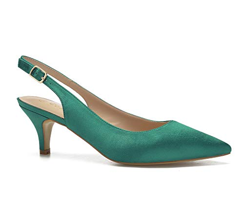 ComeShun Womens Sexy Pointed Closed Toe Comfortable Green Slingback Pumps Size 9
