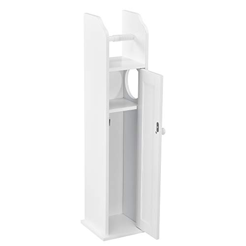 [en.casa] Meuble de Salle de Bain Armoire de Salle de Bain Rangement de Salle de Bain MDF Laqué Blanc 78 x 20 x 18 cm