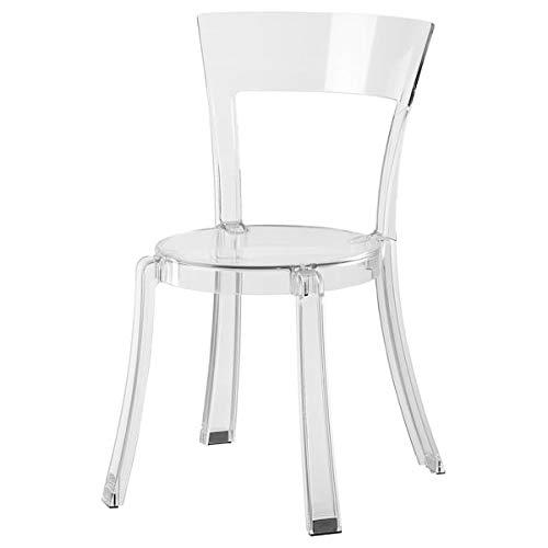 DiscountSeller STEIN Stuhl, transparent, 47 x 54 x 82 cm, strapazierfähig und pflegeleicht, Esszimmerstühle, Stühle, Möbel, umweltfreundlich