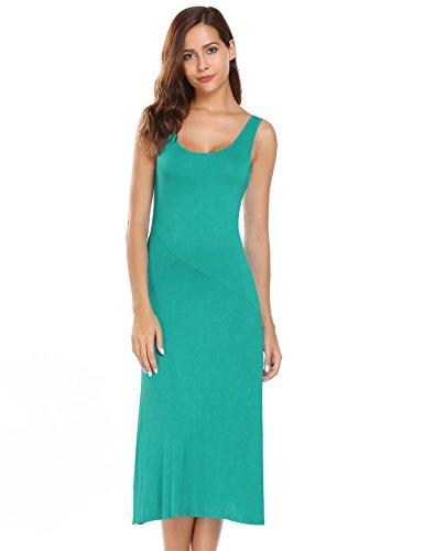 Bricnat Damen Sommerkleid Abendkleid Strandkleid Casual Rundhals ärmellose solide elastische A-Linie gefaltete asymmetrisch Sommer Maxikleid Swing Kleider Sexy Kleider