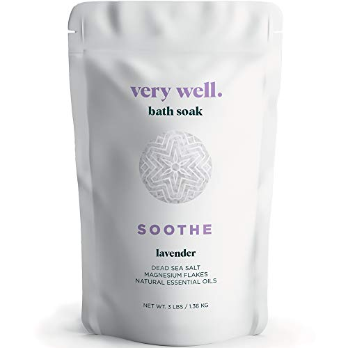 Very Well Natural Bath Salts - Dead Sea Salt + Magnesium Chloride Flakes for Stress Relief, Relaxing & Muscle Recovery - Bath Soak & Foot Soak for Women + Men - Better Than Epsom Salt (Lavender)