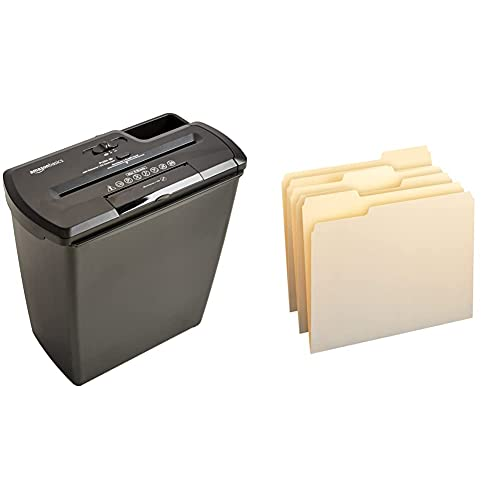 AmazonBasics PBH-55473 8-Sheet Strip-Cut Paper, CD, and Credit Card Shredder & 1/3-Cut Tab, Assorted Positions File Folders, Letter Size, Manila - Pack of 100