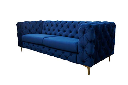 LC Home 3er Sofa Dreisitzer Couch Kingdom Chesterfield Vintage Sofa Polstersofa Loungesofa Samt barock blau