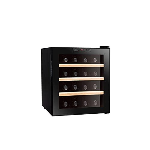 MIAOYO Capacidad De 16 Botellas Vinoteca,Termoeléctrico Vinoteca con Controles De Temperatura Digitales,Operación Silenciosa Vinoteca,Refrigerador De Vino,Negro,43x48x51cm