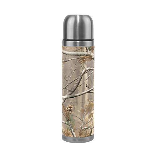 FANTAZIO Isolierflasche Thermoskanne Camouflage Druck echte Bäume Thermosflasche für heiße Flüssigkeiten