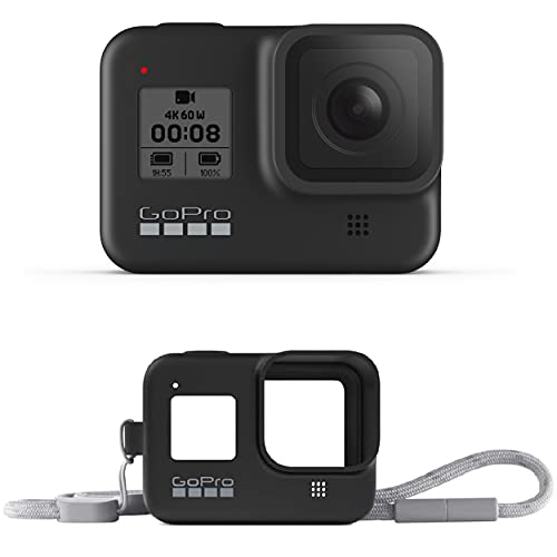 GoPro HERO8 Black Waterproof Action Camera with Touch Screen 4K Ultra HD Video 12MP Photos 1080p Live Accessory Bundle - 1 GoPro USA Battery + Lanyard (E-Commerce Packaging)