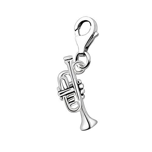 Quiges Charm Anhänger 3D Musik Instrument Trompete 925 Silber mit Karabinerverschluss für Bettelarmband